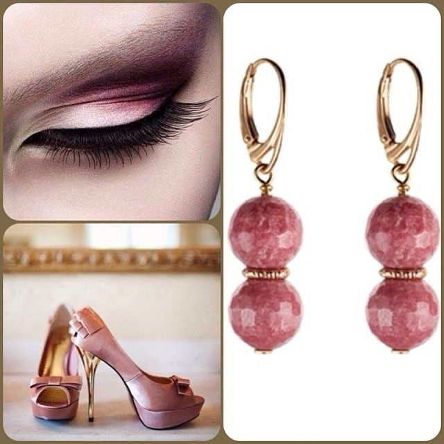 Oxette Style..!  Earrings Available here: http://www.oxette.gr/kosmimata/skoularikia/st.silver-rose-plated-earrings-hm-rhodonite-130l-1/  #oxette #earrings