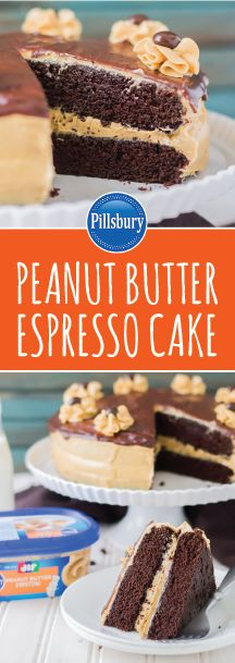 If a rich and delectable dessert is what you're looking for, then feast your eyes on this Peanut Butter Espresso Cake! Thanks to layers of chocolate cake and the new Pillsbury™ Jif® Peanut Butter Frosting, this recipe is sure to become your favorite treat for special occasions—birthday parties, holiday celebrations, you name it! Head over to your local Kroger to grab all the ingredients you'll need to make this tasty baked good.