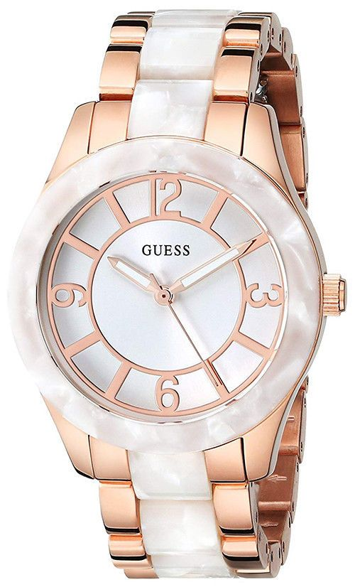ed3fefbe7a Guess Women's Classic Rose Gold Tone Stainless Steel/White Acetate Watch  U0074L2#Classic#Rose#Gold
