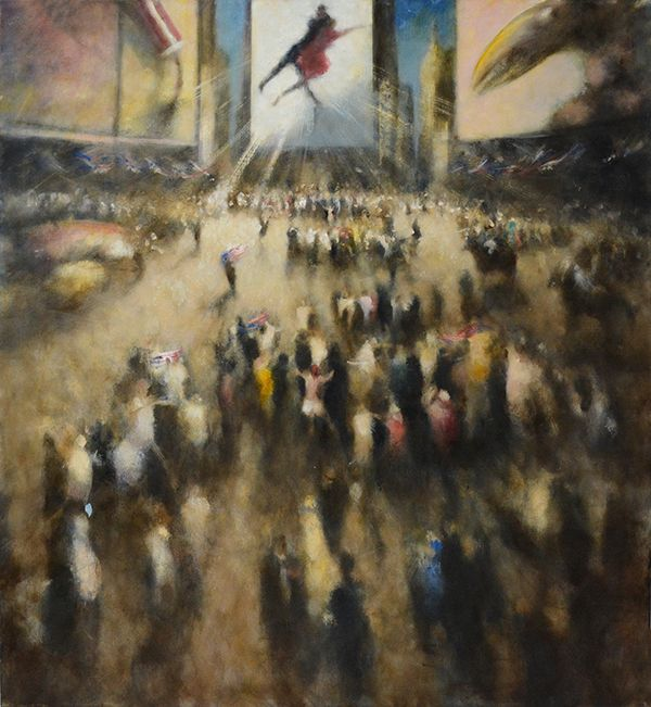 PARADE TIMES SQUARE, 2015, an oil on canvas painting by Bill Jacklin, 66 x 60 in.