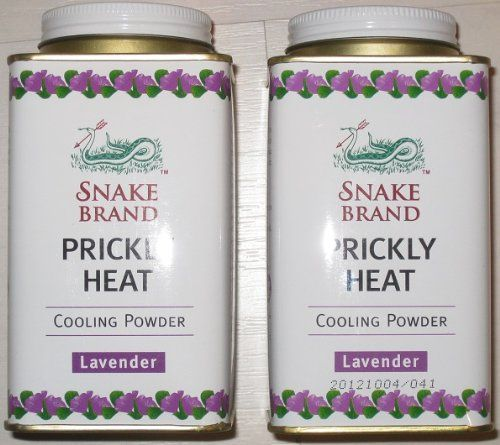 Snake Brand Prickly Heat Cooling Powder, 2-pack (Lavender, 150g):   The world's first Cooling Powder, Snake Brand Prickly Heat Powder was created in 1947 by Dr. Luen Vongvanij as a treatment for foreigners suffering heat rash from Thailand's hot and humid climate. The Snake with Arrow trademark has remained a symbol of quality skin remedy for generations of Thais ever since.