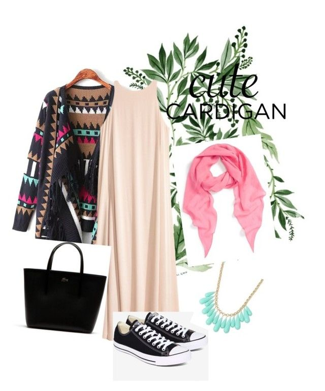 """cute cardigan"" by firdanrmla on Polyvore featuring MCM, Lacoste, Converse, INC International Concepts, cutecardigan and springlayers"