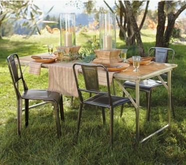 campaign portable dining table and parisian bistro chairs