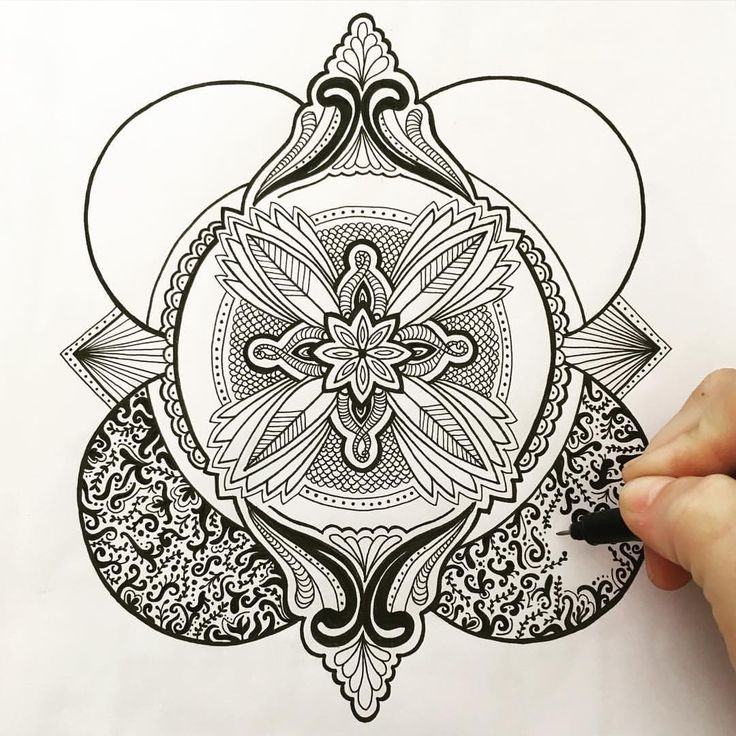 Zentangle zenart mandala ilustración illustration monochrome hand drawn