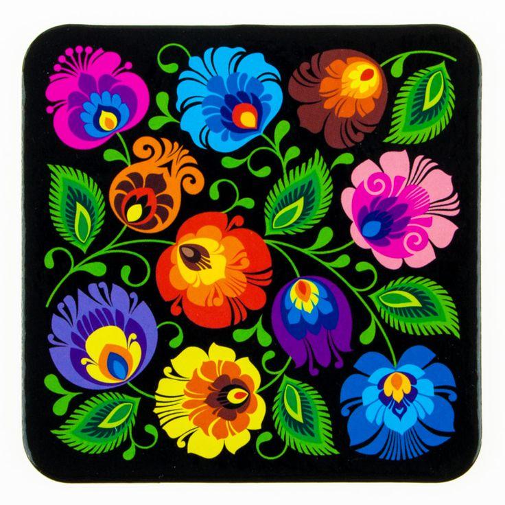 Podkładka korkowa na ludowo FOLK FLOWERS - wycinanka łowicka - czarna - kwiaty kolorowe