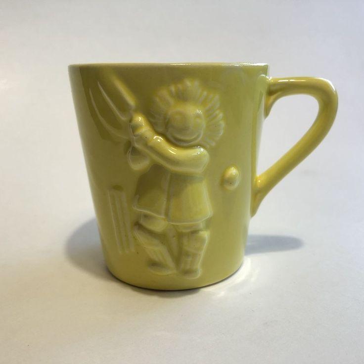 Unusual Antique Child's Robertson's Jam Rag Doll Cricket Player Sports Mug Cup #RobertsonsJam