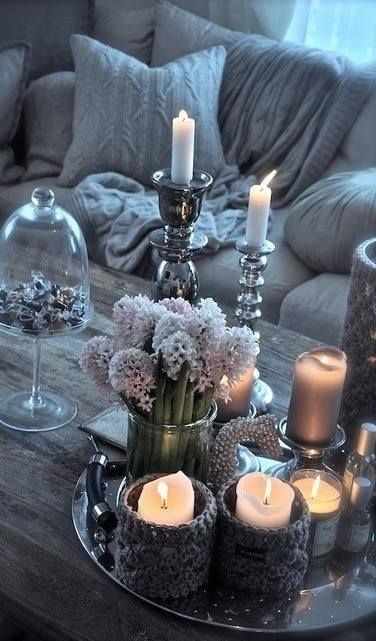 Love this shade of blue!  Warm candle light in just the right amount of glamour, in serene shades of silver & grey!