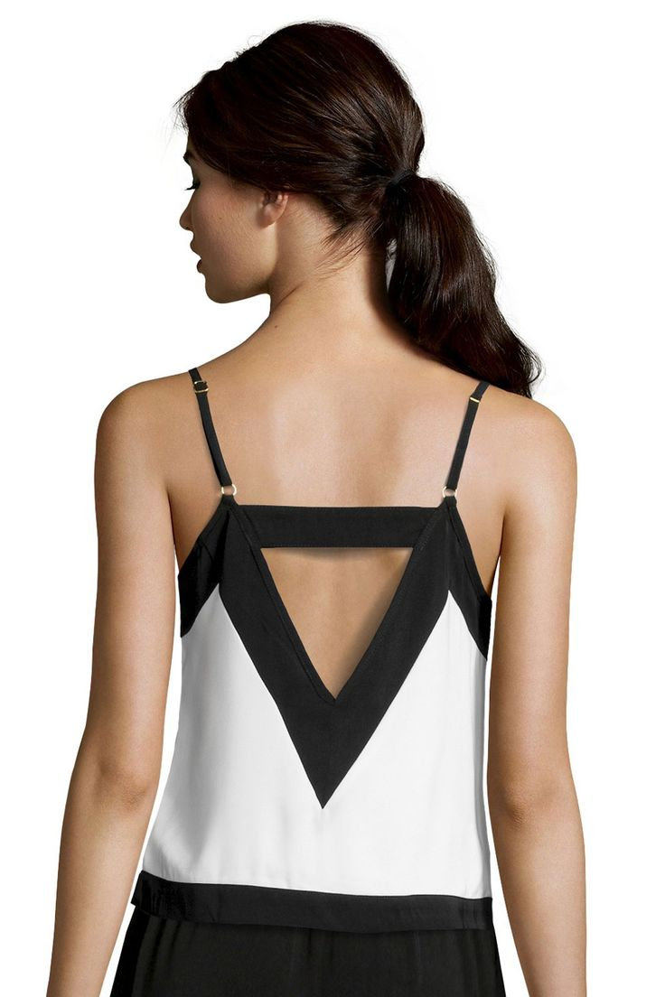 Cute! Black and White Tank with Cut-Out Back