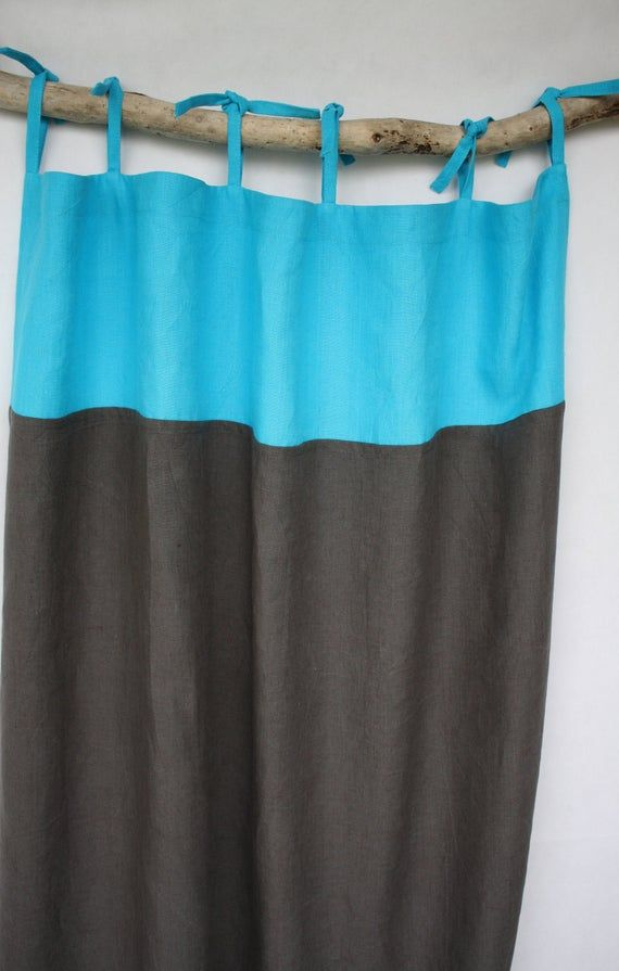 Tie Top Linen Curtains Extra Long Curtain Panels Turquoise Linen