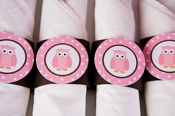 Owl Theme Napkin Rings  Owl Birthday Party by getthepartystarted, $9.00