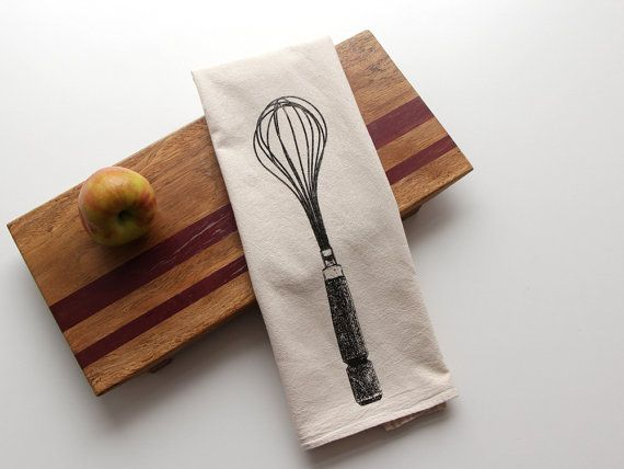 Whisk Flour Sack Towel - Deluxe Natural Tea Towel - Hand Screen Printed on Etsy, $12.00