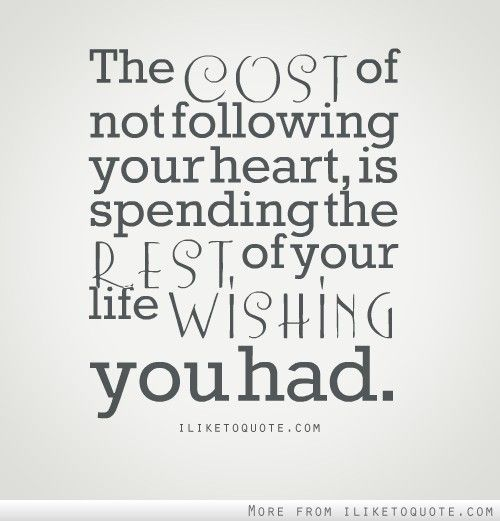 you never know what it will cost you...
