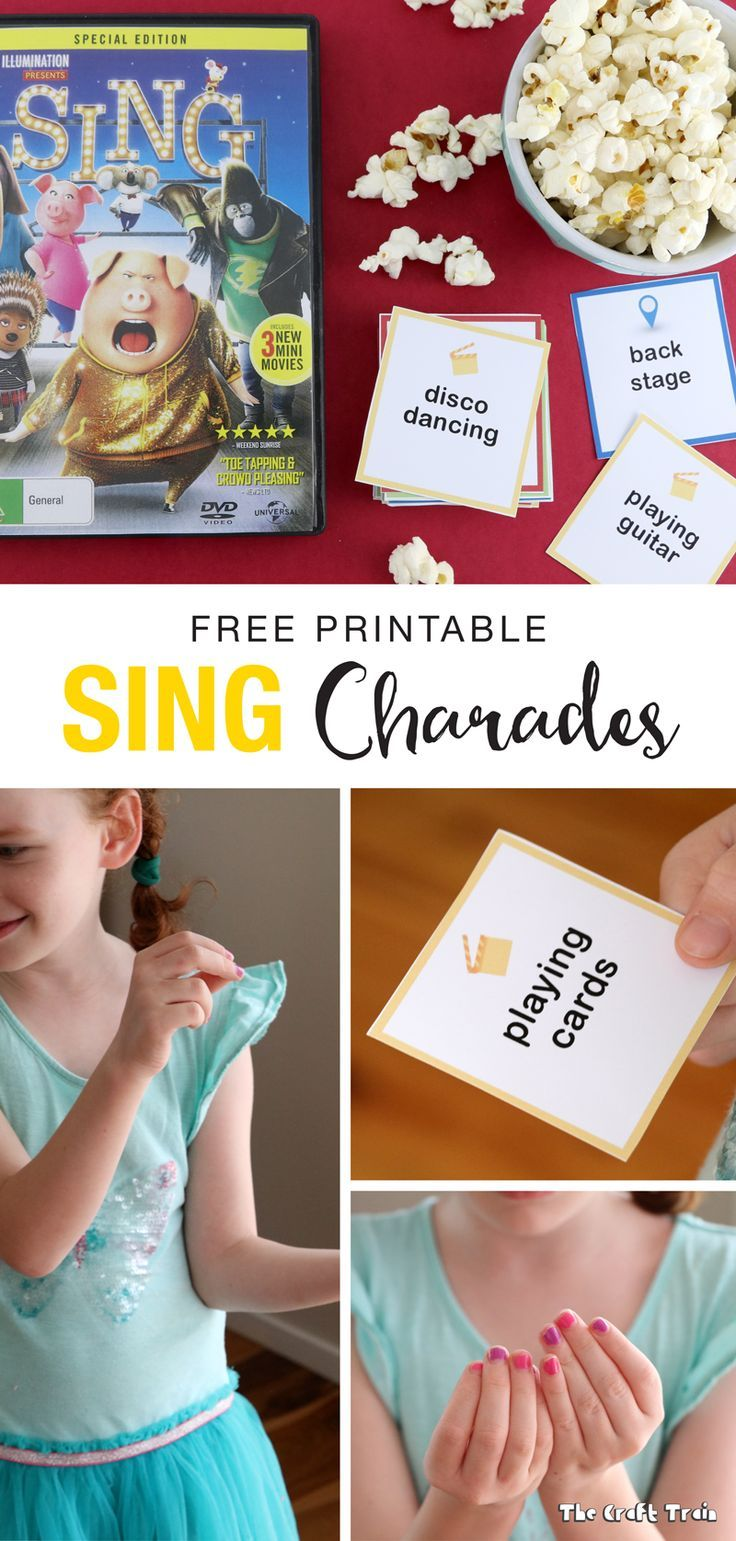 A free set of printable charades cards inspired by the movie SING, now on Blu-ray and DVD. Lots of big belly-laughs guaranteed! #sponsored