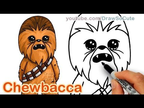 How to Draw Star Wars Chewbacca Cute step by step Easy