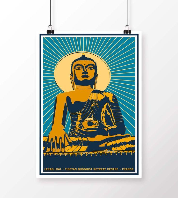 Buddha Vintage Style Poster by samuelhorwooddesign on Etsy