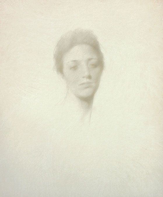 Thomas Wilmer Dewing (1851 - 1938)  Head of a Woman  Silverpoint on paper.