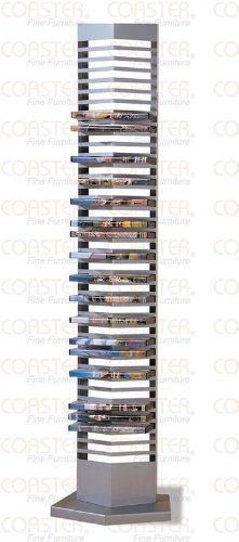 Modern Silver Finish Metal DVD Tower Rack (40 DVDs Storage)