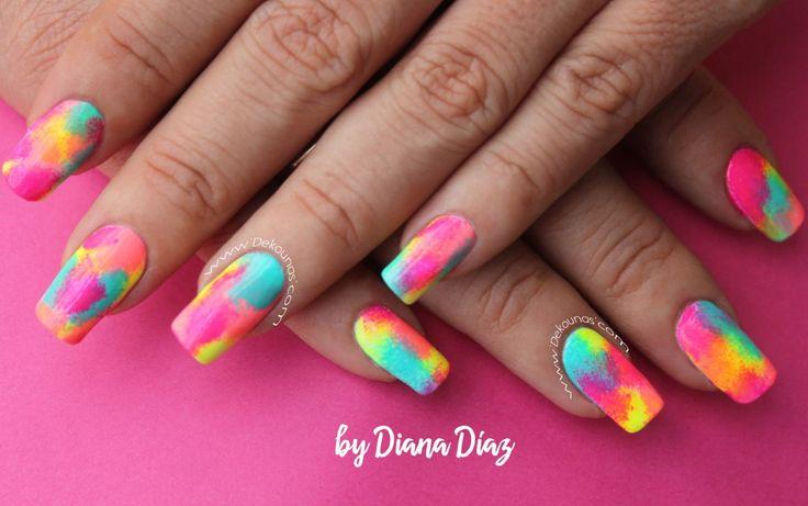 Decoración de uñas fiesta neon Deko uñas by Diana Diaz