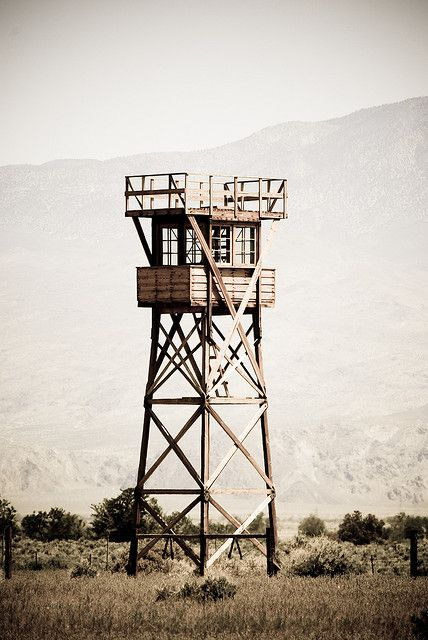 Guard tower at Manzanar, CA.  Armed sentries in place 24 hours a day.
