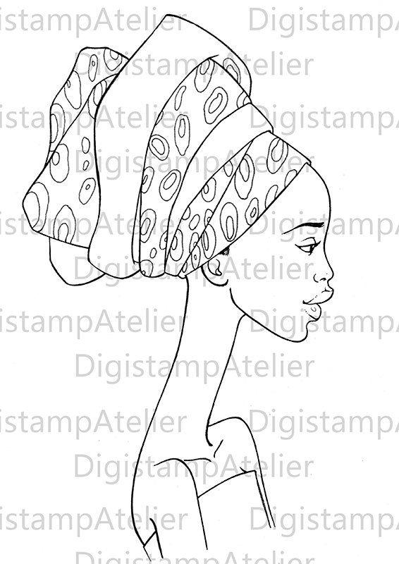 Afican Woman. INSTANT DOWNLOAD Digital Digi por digistampatelier