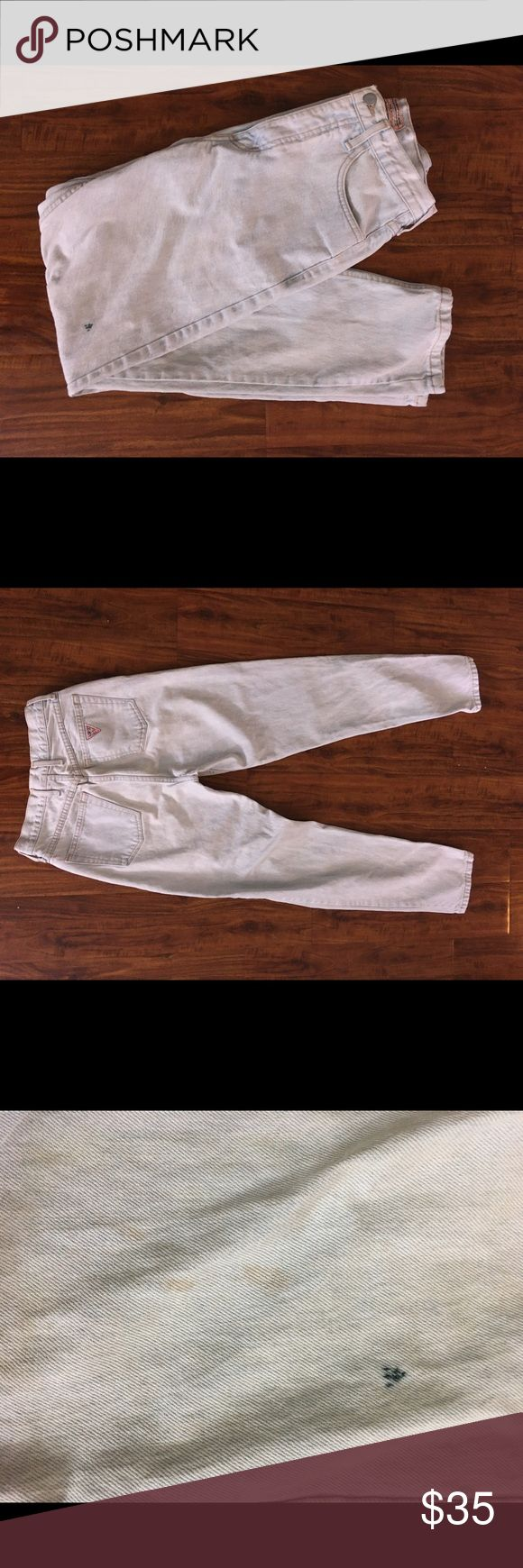Vintage 90s guess Marciano light wash jeans Some light staining on leg, I have not tried to clean. Marked a size 30. Waist measures 13 inches across, inseam to waist 12 inches, 31 inch inseam. Guess by Marciano Pants