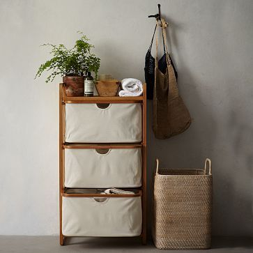 West elm bamboo laundry triple shelving hamper derby party inspiration pinterest - West elm bathroom storage ...