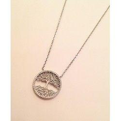Collana in argento 925 e zirconi con ciondolo cerchio albero della vita
