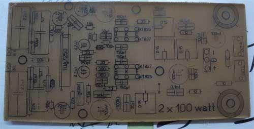 tda7250 печатная плата вид со стороны деталей