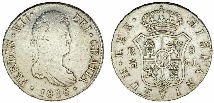 8 SILVER REALES/PLATA. FERDINAND VII-FERNANDO VII. MADRID. 1818/28. VF/MBC.