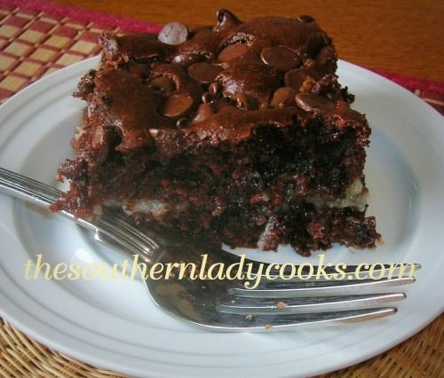 CHOCOLATE EARTHQUAKE CAKE - uses cake mix, coconut, nuts and chocolate chips. Another variation is spice cake, coconut, nuts and butterscotch chips.