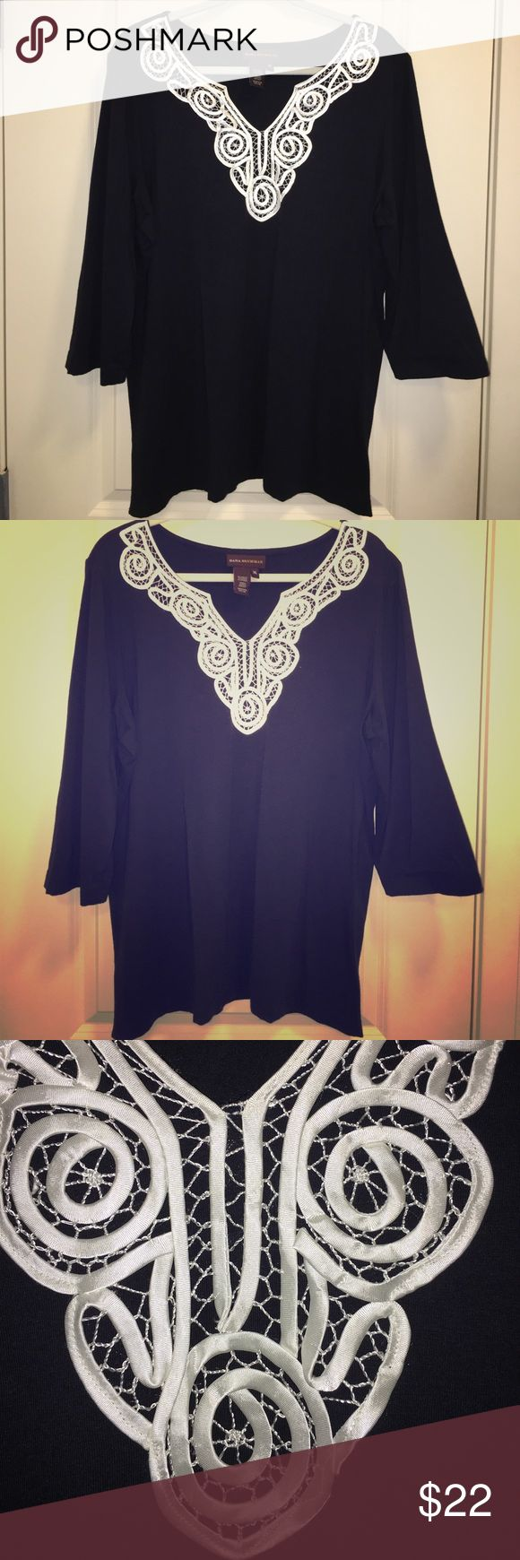 Cotton Dana Buckman Beautiful top. Like New Beautiful Dana Buckman blouse dark navy blue. Cool & light good for warm weather (Church and or party and resort style attire) intricate beautiful embroidery detail on the blouse . No rips no stains no snags no problem .😾Pet and odor free home🐾 1 day shipping 📫day shipping📬 bundle for 10% off🛍 Free gift with purchase 🎁 Tops Blouses