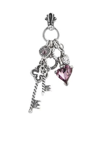 EN1116 - Pendant with a tumble of key and antique pink Swarovski crystal charms