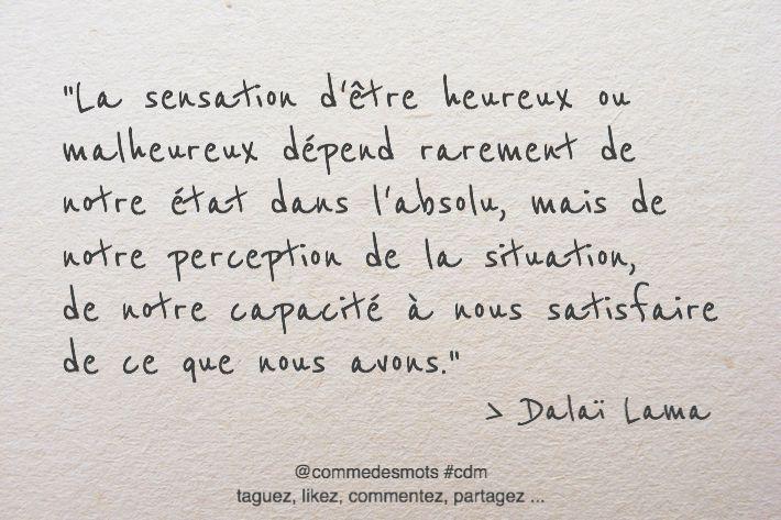 """""""La sensation d'être heureux ou malheureux dépend rarement de notre état dans l'absolu, mais de notre perception de la situation, de notre capacité à nous satisfaire de ce que nous avons."""" #citation du #DalaïLama #penseepositive #citationdujour #proverbe"""