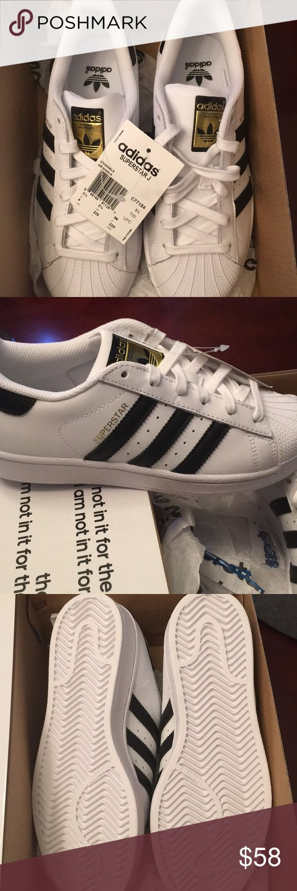 NEW WITH TAG Adidas superstars These are brand new, in perfect condition. These are a men's size 4 which is equivalent to a women's size 5.5 or 6. These are perfect and would make a GREAT Christmas present. Size was just too small for my daughter. I will ship with original adidas box on same day as purchase! adidas Shoes