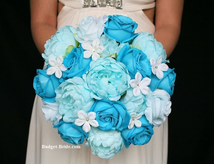 Aqua and Teal Blue Wedding Flowers