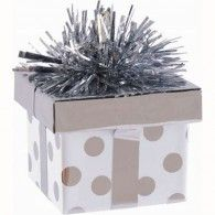 Balloon Weight Gift Box Silver Dots $6.95  A114535