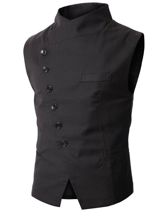Doublju Mens Slim Vest with Asymmetry Button $34.99 http://steampunkclothingsource.com/steampunk-clothing-men/doublju-mens-slim-vest-with-asymmetry-button