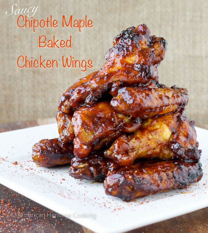 Saucy Chipotle Maple Baked Chicken Wings {GF} | Bursting with Maple ...