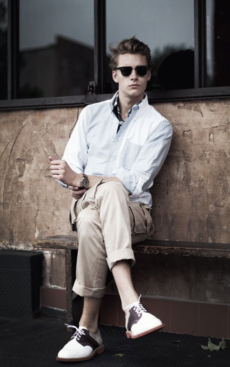 Layered Shirts. Rolled up pants. black and white oxfords.