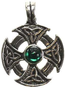 A stylized iron cross with Celtic triquetras at the ends of the cross bars. (stone varies). Has cord. Pewter. 1""