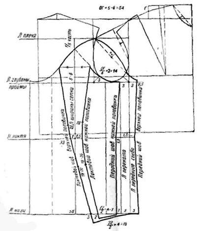Dibujo de construcción de doble costura de las mangas del patrón
