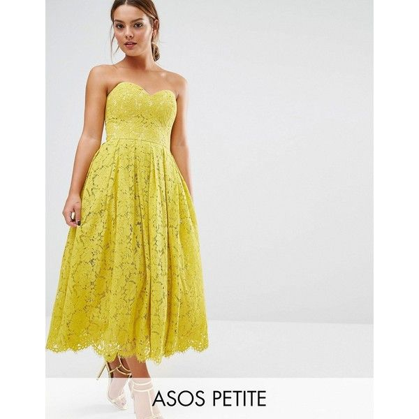 ASOS PETITE Sweetheart Lace Bandeau Midi Dress (€89) ❤ liked on Polyvore featuring dresses, petite, yellow, strapless midi dress, midi dress, yellow strapless dress, petite lace dress and petite dresses