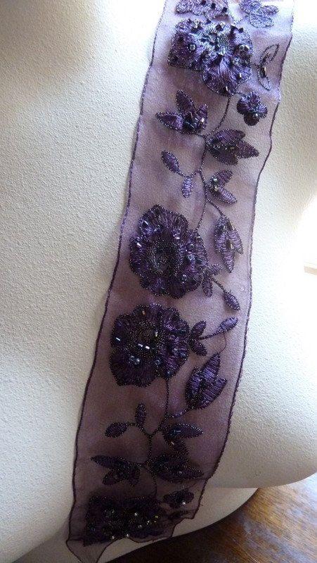 VENTE perles Applique de dentelle prune aubergine pour danse lyrique, nuptiale…