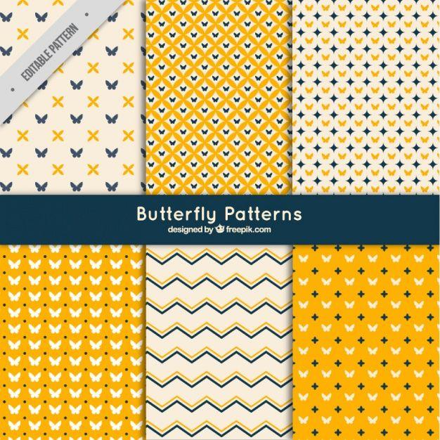 Набор абстрактных моделей с бабочками Бесплатные векторы