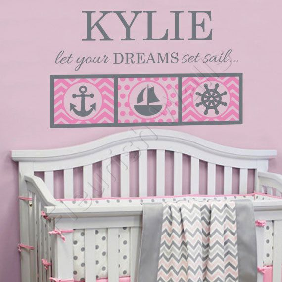 Nautical Nursery Decal - Personalized Anchor & Sailboat Decal for Baby Girl Nursery - Let Your Dreams Set Sail Girls Bedroom Decor GN066