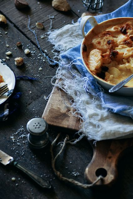 Gratin Dauphinois - gorgeous #styling love the moody colours, the rustic feel...beautiful blues..