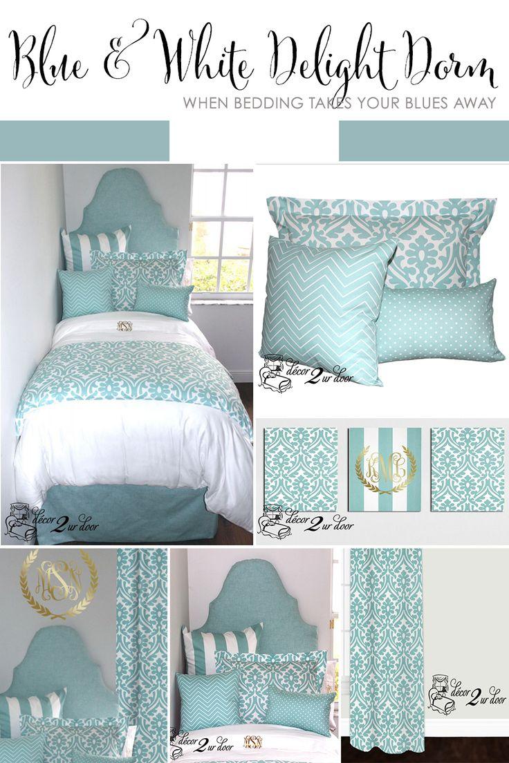 Canal Blue U0026 White Delight Designer Dorm Bedding Set. College Dorm  BeddingDorm Room ... Part 64