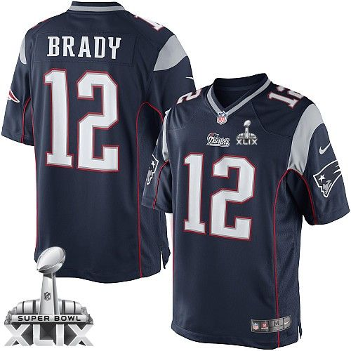 New England Patriots #12 Tom Brady 2015 Super Bowl XLIX Blue Limited Kids Jersey