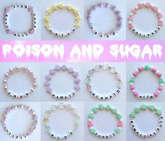 Alphabet Bracelets with Pastel Beads Misfit by tiffanymamone, $8.00