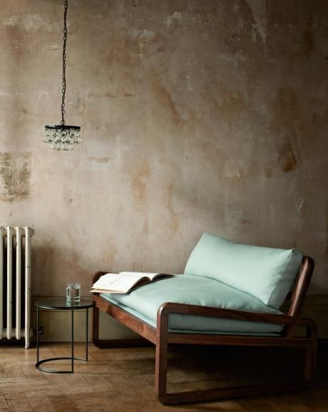"""zeffirelli sofa, walnut frame w/ cotton or linen upholstery, 51.25""""w 31.5""""d 27.5""""h"""